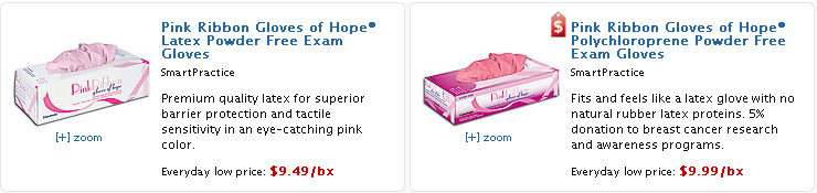 Pink Ribbon Exam Gloves & Dental Supplies