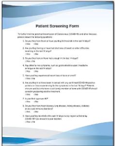 Patient COVID-19 Screening Form